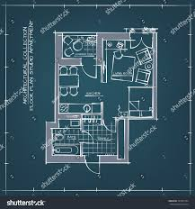 architectural hand drawn blueprint floor plan stock vector