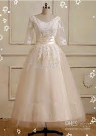 tea length lace sleeves tulle a line wedding dress bridal gown