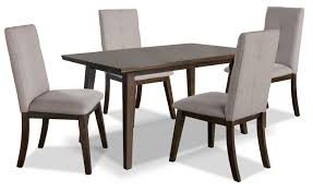 chelsea 5 piece dining table package with beige chairs the brick