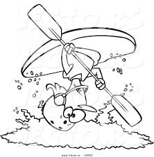 vector of a cartoon female kayaker doing a flip over white water