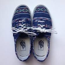 blue patterned shoes vans shoes unisex southwesternpatterned lowtop poshmark