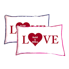 Customized Cushion Covers Personalized Love Heart Couple Pillow Covers Set Of 2