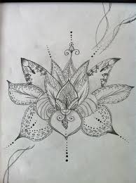 lotus flower art henna style 12x14 pencil drawing by lovelacearts