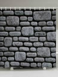 Stone Brick by Stone Brick Wall Pattern Fabric Bathroom Shower Curtain Deep Gray