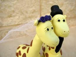 giraffe wedding cake topper bride and groom yellow wedding