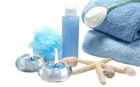 miscellaneous calming spa blue sponge natural salt beauty shells