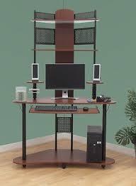 student wood metal small corner tower computer desk hutch shelves