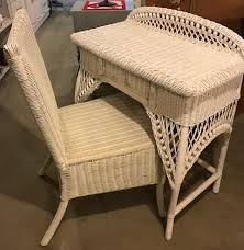 White Wicker Desk by White Wicker Vanity Desk With Drawer For Storage And Includes