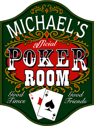 poker room wooden pub signs