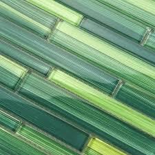 Modern Bamboo Strip Glass Mosaic Tiles Wall Tiles Green For Living - Bamboo backsplash