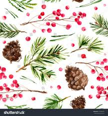 pattern christmas ornaments branches painted watercolors stock