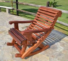 Garden Rocking Bench Outdoor Wooden Rocking Chair With Built In Lower Back Support