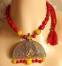 handmade necklace designs images Ethnic ganesha pendant red coral designer handmade necklace set at jpg