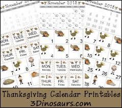 thanksgiving calendar cards 3 dinosaurs