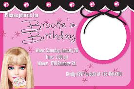 sample birthday invites interesting barbie birthday invitation cards 39 for seminar