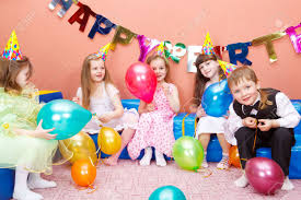 group of preschool kids at the birthday party stock photo picture