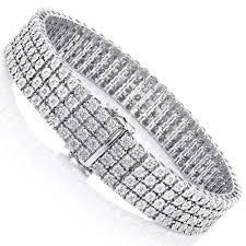 sterling silver bracelet with diamond images Mens sterling silver bracelets 4 row diamond bracelet 0 63ct jpg
