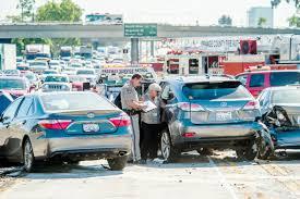 at least six people hurt in 10 vehicle crash on i 405 u2013 orange