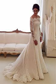 white the shoulder lace sleeve bridal gowns sheath cheap
