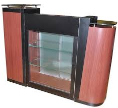 Reception Desk With Glass Display Cherry Reception Desk With Black Glass Top An901c Reception Desks