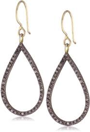 diamond teardrop earrings zoe chicco noir oxidized sterling silver and 14k open diamond