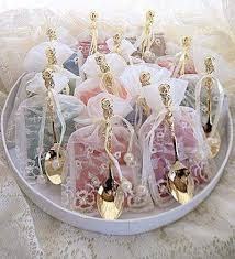 tea bag favors tea themed tea party bridal favors tea cup spoon roses and