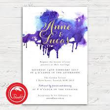 purple and gold wedding invitations purple watercolour and gold wedding invitation set pocadot