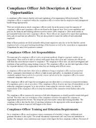 Job Desk Safety Officer Compliance Officer Job Description Regulatory Compliance
