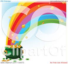 cartoon of a rainbow crashing into a leprechauns pot of gold