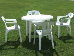 White Resin Patio Table Collection In White Plastic Patio Table And Chairs And Plastic