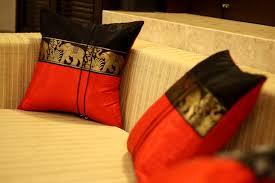 Red Decorative Pillow Silk Decorative Pillow Covers Large Thai Elephant Design Black