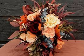 wedding flowers queanbeyan autumn preserved wedding bouquet plum wine burnt