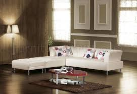 Contemporary Leather Sectional Sofa by Off White Bonded Leather Modern Sectional Sofa Set W Metal Legs