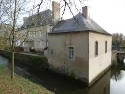 castle with chapel surrounded by moats in the west of france