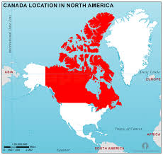 combined map of usa and canada canada location map in america canada location in