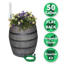 rescue 50 gal brown flat back whiskey rain barrel with integrated