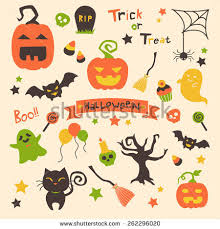 halloween seamless pattern hand drawn elements stock vector