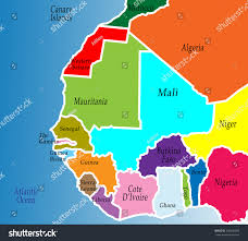 Africa Map by Political Map West Africa Colorful Bright Stock Illustration