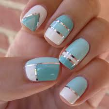new nail design ideas silver strips fot the shades of blue nail
