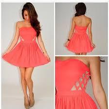 dress lace pink dress coral dress strapless dress summer