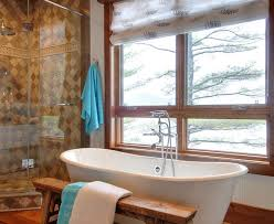 Rustic Bathroom Colors Gorgeous Teak Shower Bench In Bathroom Transitional With Tan Tile