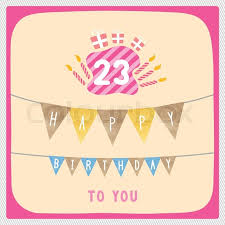happy 23rd birthday anniversary card with gift boxes and candles