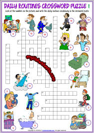 Esl Vocabulary Worksheets Daily Routines Esl Printable Crossword Puzzle Worksheets For Kids