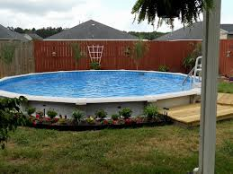 Backyard Pool Landscaping by Triyae Com U003d Backyard Above Ground Pool Landscaping Ideas