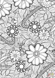 zentangle ornament with flowers coloring page free printable