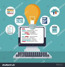 color background tech computer icons programming stock vector