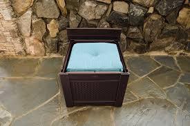 Rubbermaid Patio Table by Amazon Com Rubbermaid Cube Patio Chic Outdoor Storage Dark Teak