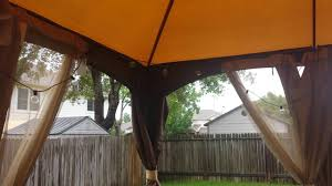 Wooden Screen Gazebos by Allen Roth Brown Rectangle Screened Gazebo Rainy Day Review