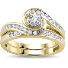 bridal ring sets miabella 1 4 carat t w diamond sterling silver bridal ring set