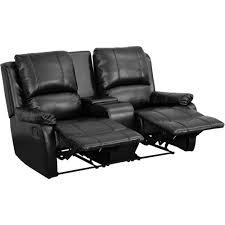 home theater sofas allure series 2 seat reclining pillow back black leather theater